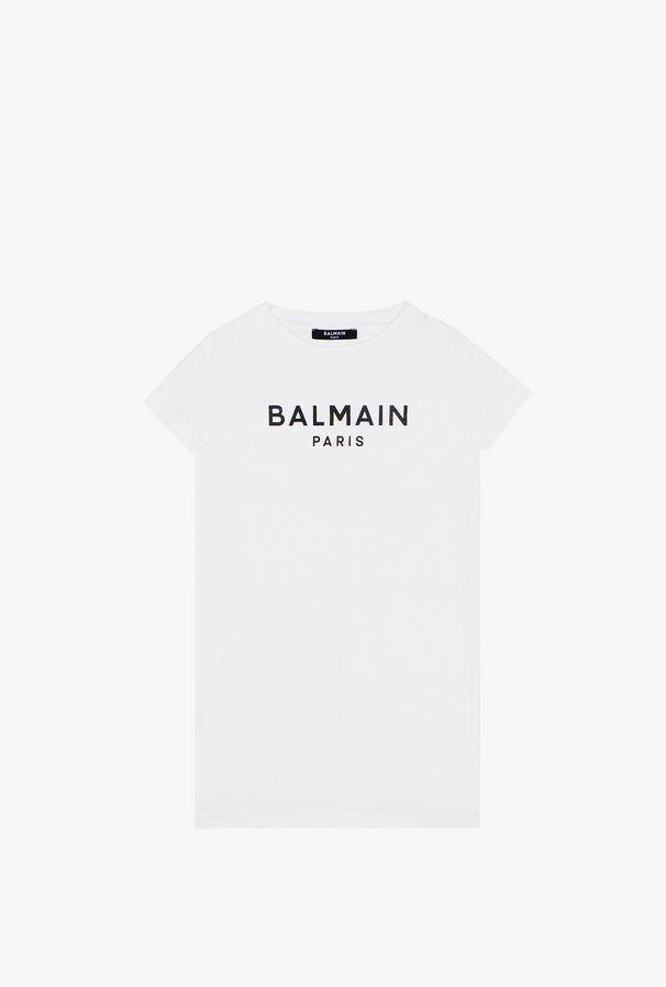 Abito Bianco In Cotone Con Logo Balmain Nero - Balmain Junior