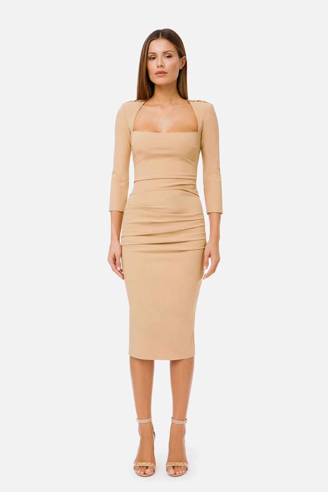 Sheath Dress With 3/4 Sleeve And Clamp - Elisabetta Franchi