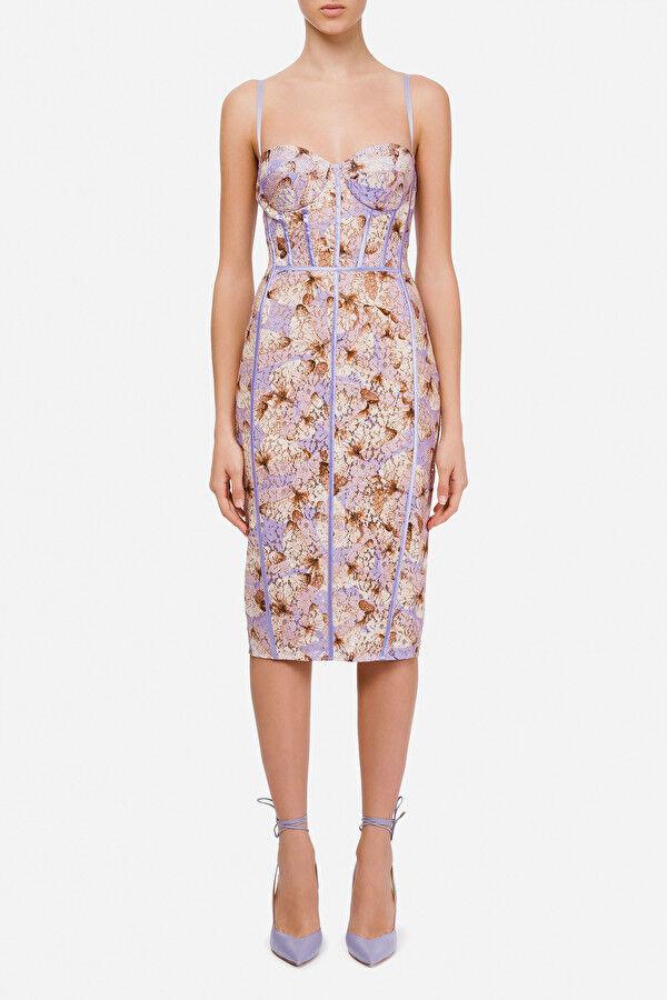 Pencil Dress With Butterflies Print - Elisabetta Franchi