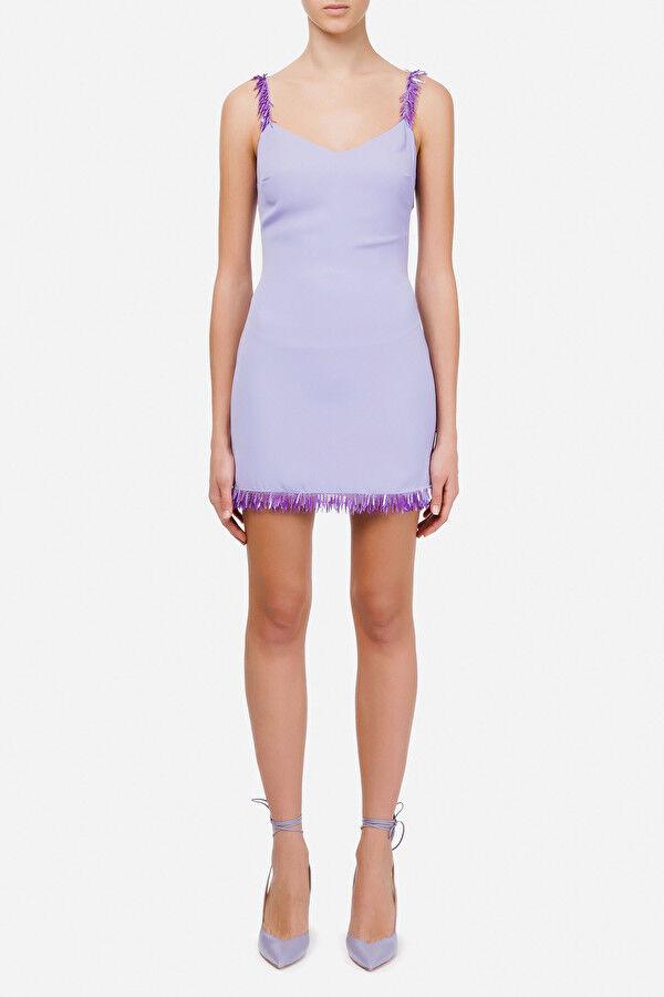 Mini Dress Con Ricamo Effetto Frangia - Elisabetta Franchi
