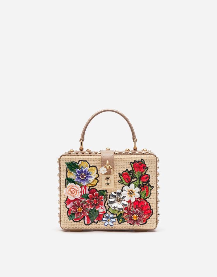 Borsa Dolce Box Intreccio Rafia Con Ricamo A Filo - Dolce & Gabbana