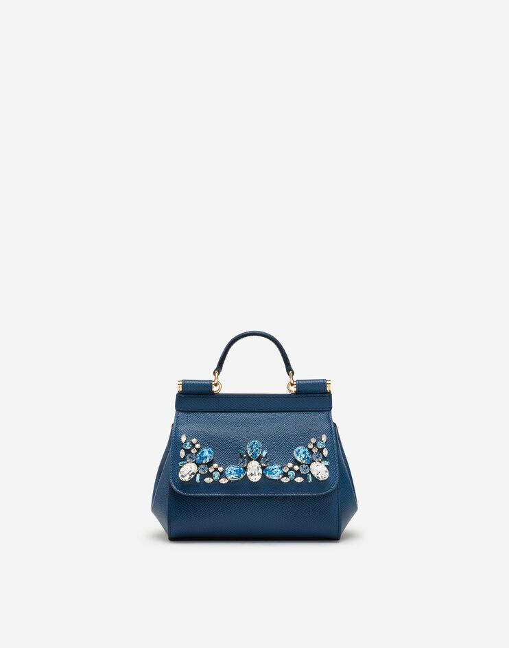 Mini Bag Sicily In Pelle Di Vitello Dauphine Con Ricamo Strass - Dolce & Gabbana