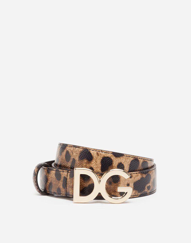 Cintura In Vitello Dauphine Stampa Leo - Dolce & Gabbana