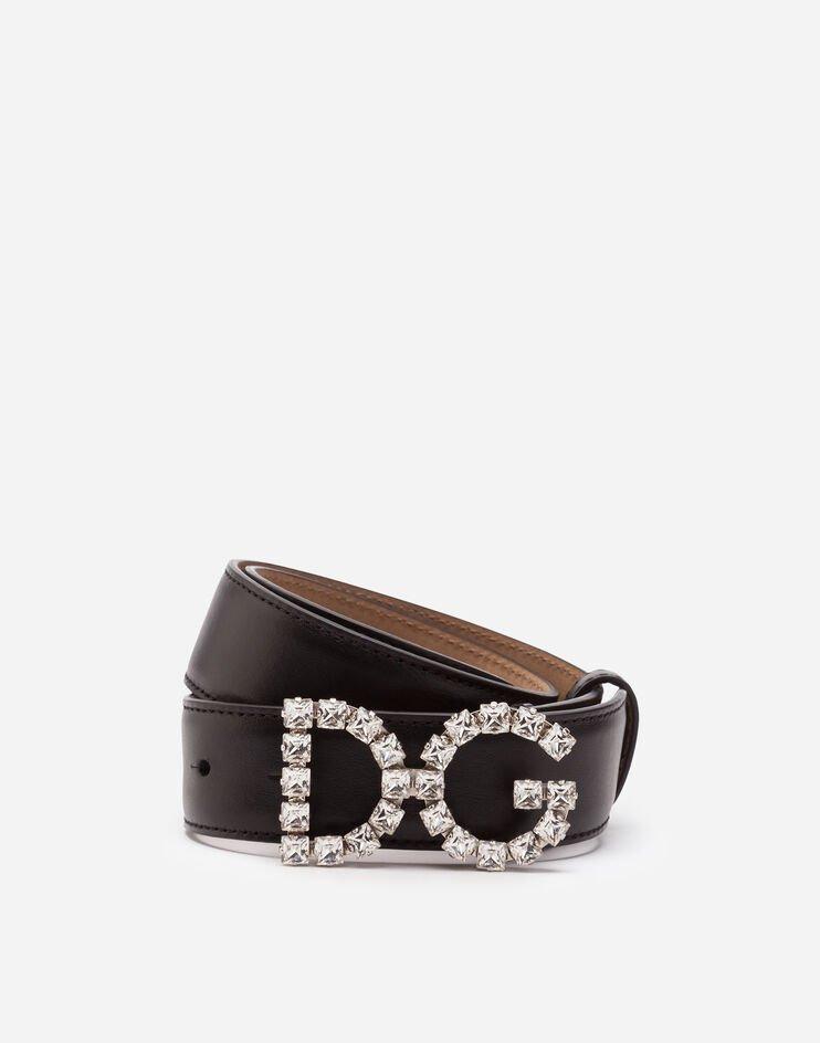 Cintura In Vitello Con Logo Dg Cristalli - Dolce & Gabbana