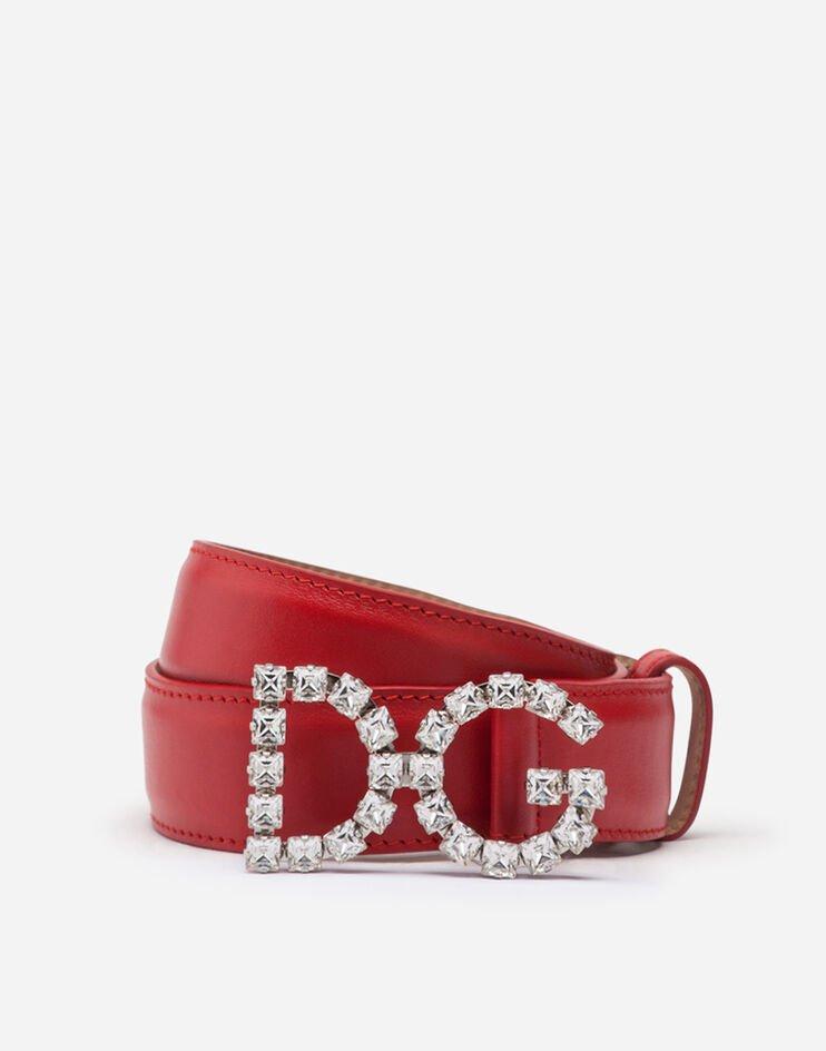 Cintura In Vitello E Fibbia Logo Dg Cristalli - Dolce & Gabbana
