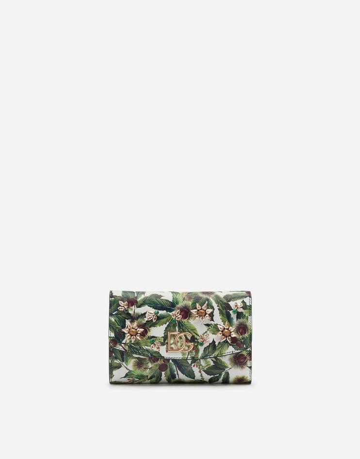 Mini Bag In Vitello Dauphine Stampa Castagne Fondo Bianco Con Ricamo Gioiello - Dolce & Gabbana