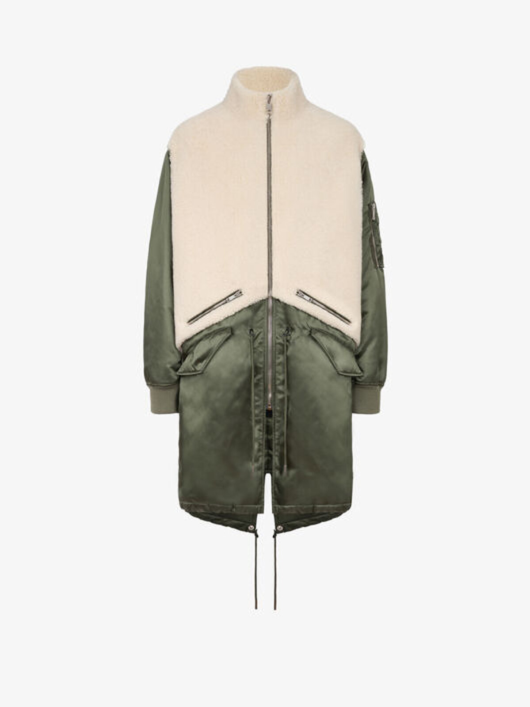 Military parka in nylon and shearling - Givenchy