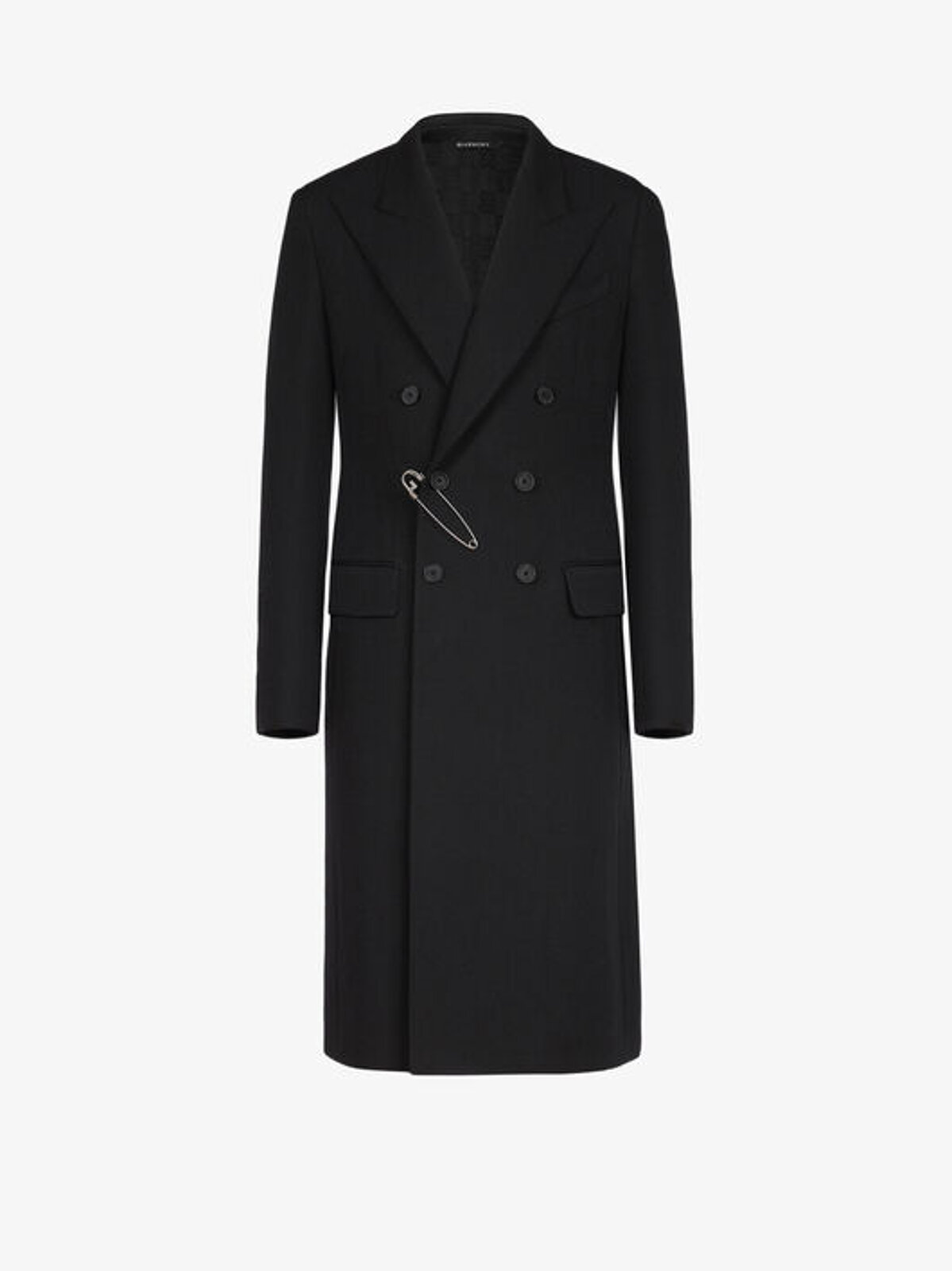 Double-breasted wool coat with G brooch - Givenchy
