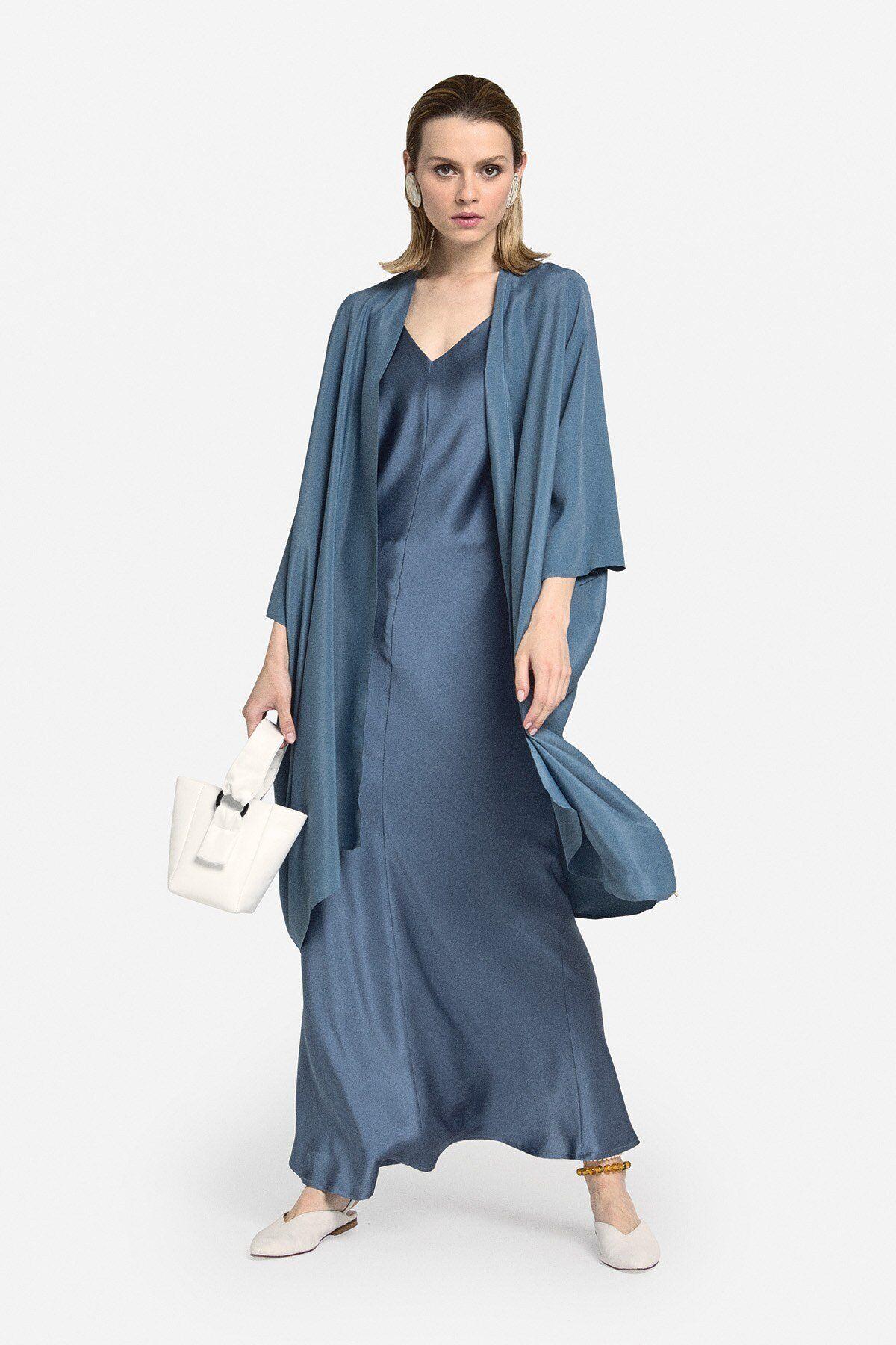 Kimono Duster Coat In Mixed Silk - ottod'Ame