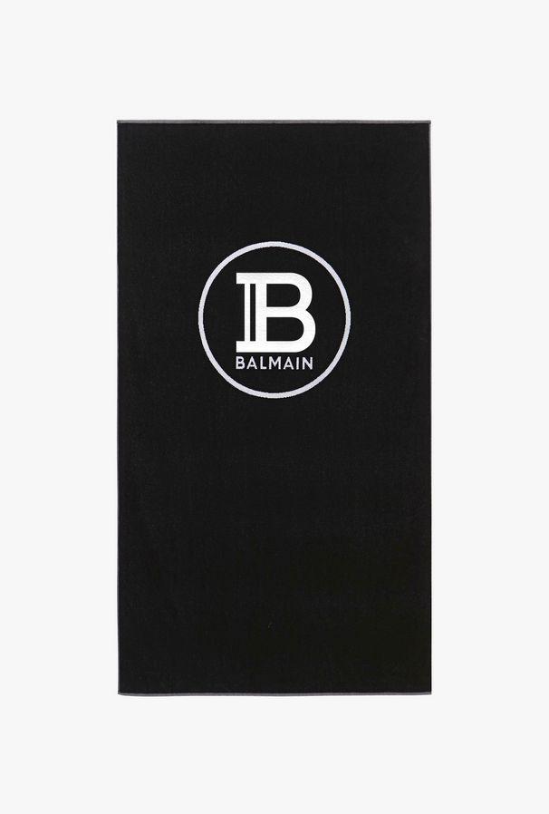 Telo Mare Nero In Cotone Con Logo Balmain - Balmain