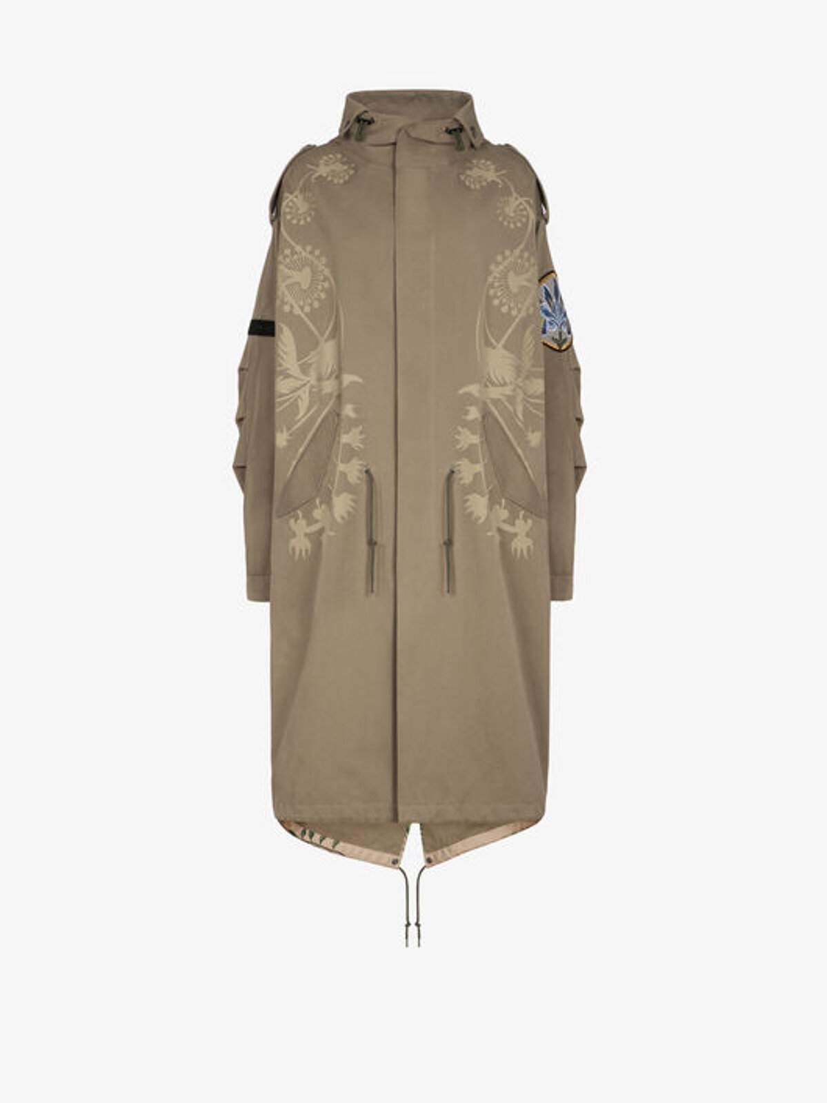 Oversized Parka With Floral Applications - Givenchy