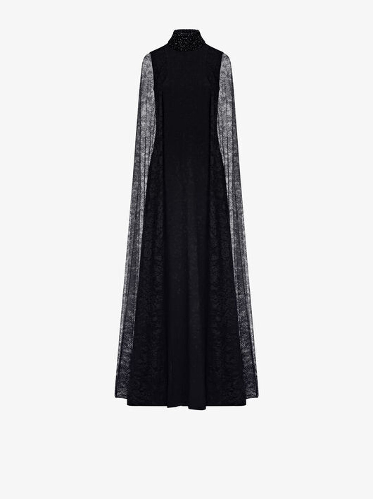 Long Cape Dress In Stretch Cady And Lace - Givenchy