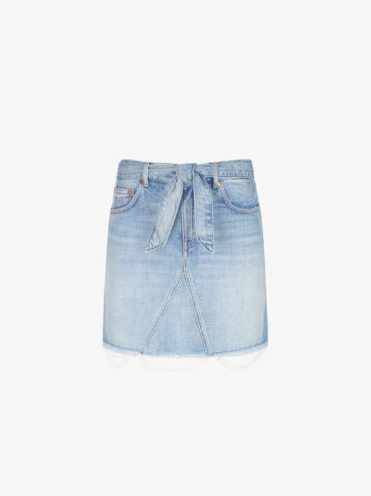 Minigonna In Denim Con Cintura - Givenchy