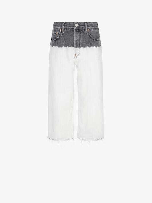 Jeans Morbidi Corti In Denim Bicolore - Givenchy