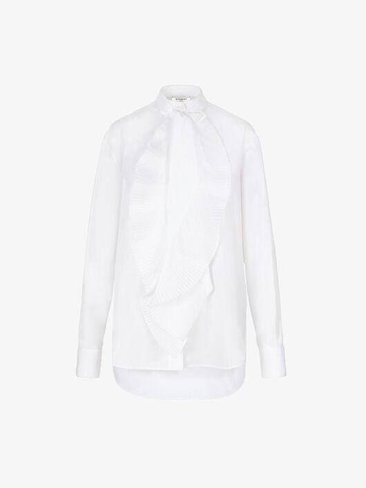 Camicia In Popeline Con Collo A Sciarpa Drappeggiato - Givenchy