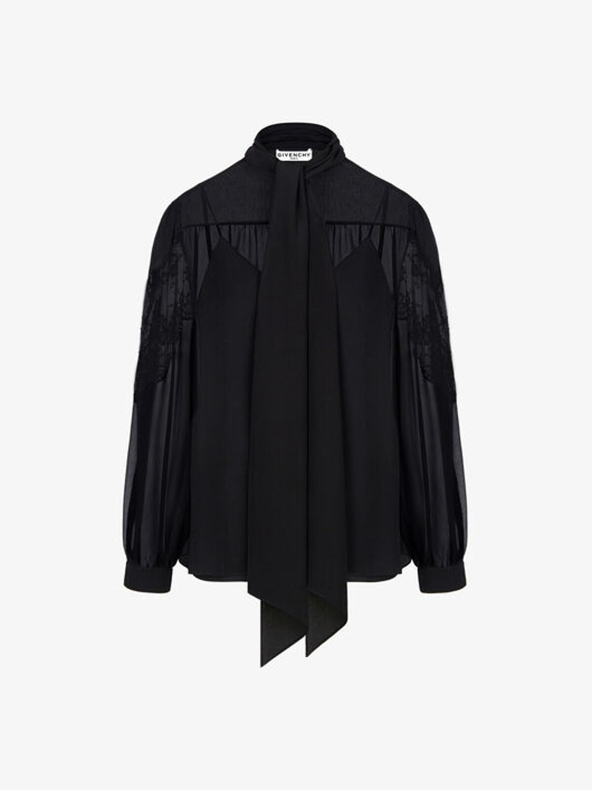 Silk And Lace Blouse With Scarf Collar - Givenchy