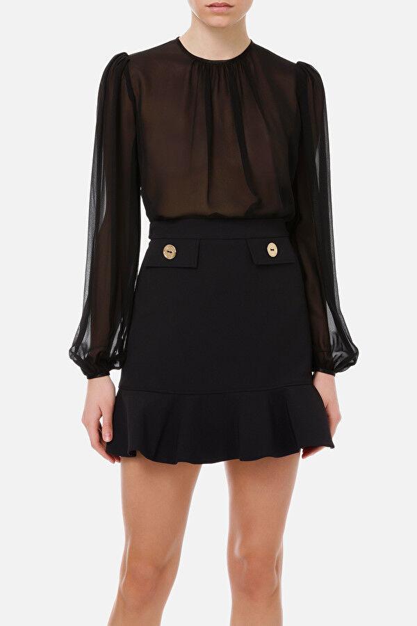 Draped Silk Georgette Shirt - Elisabetta Franchi