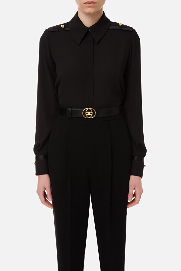 Duchesse Shirt With Shoulder Pads - Elisabetta Franchi