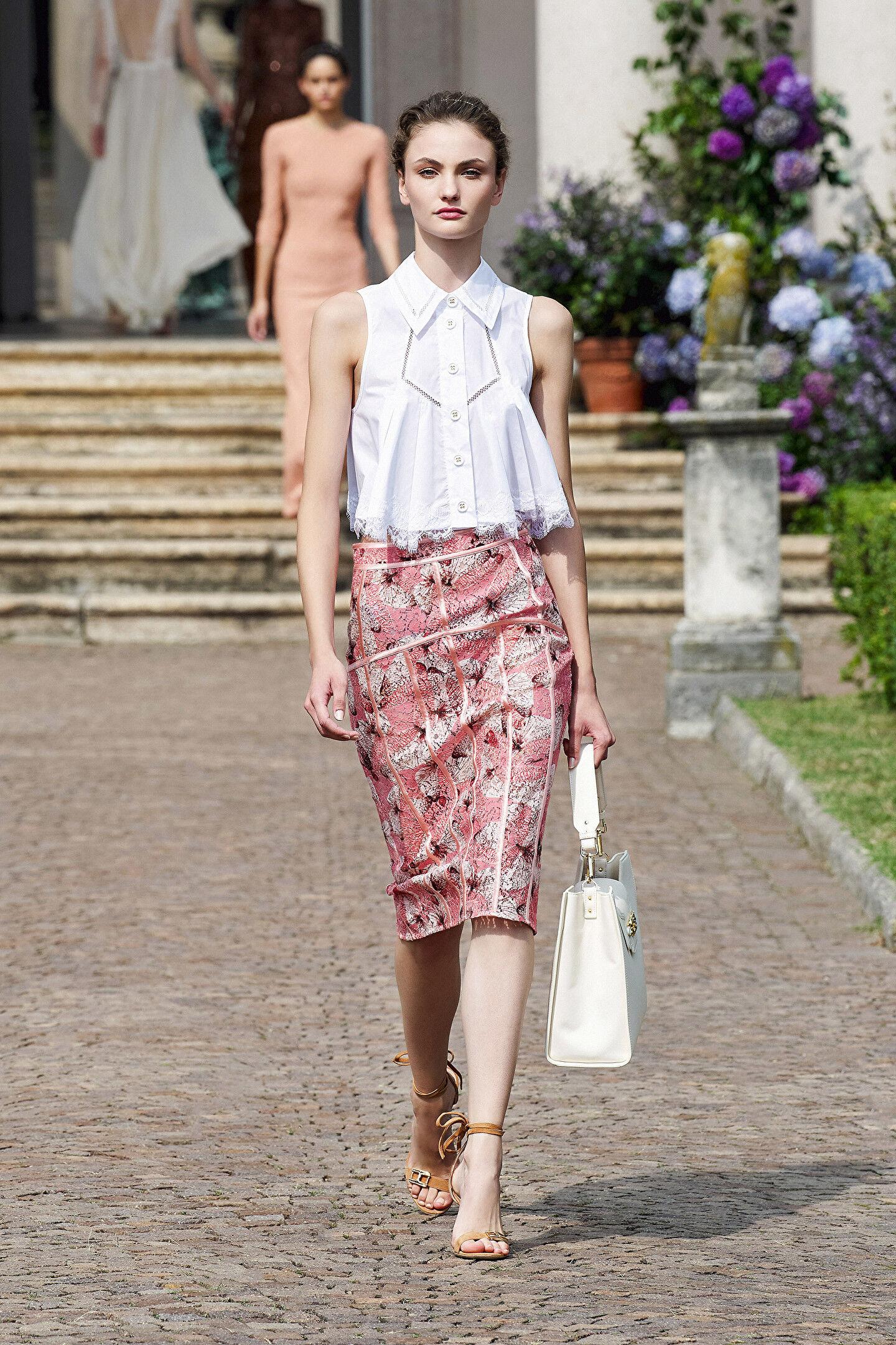 Embroidered Lace Crop Shirt - Elisabetta Franchi