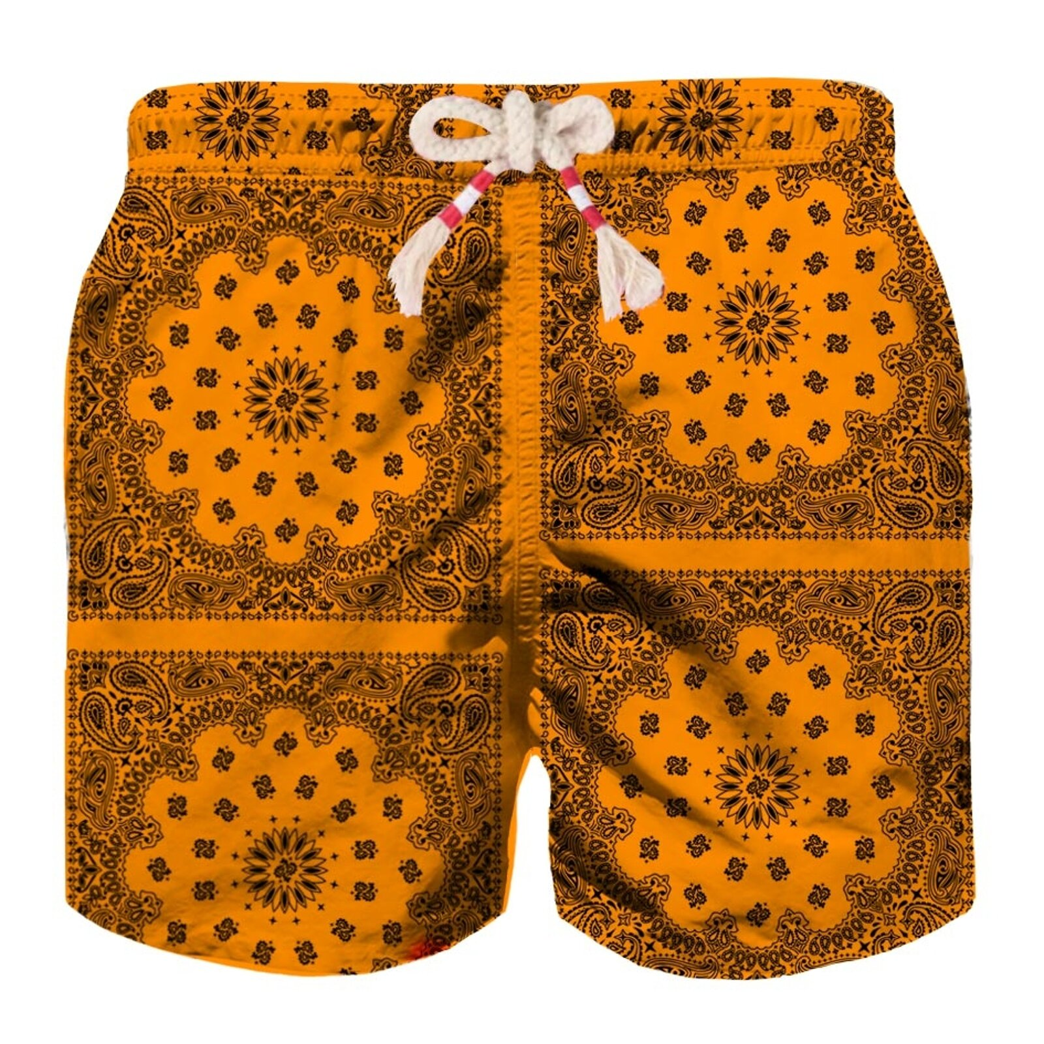 Costume Mare Bimbo Stampa Bandana Arancio - MC2 Saint Barth Junior