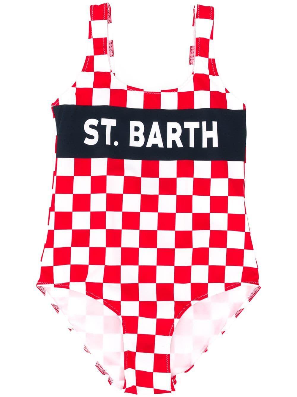 Costume Intero Da Bimba Stampa A Scacchi Bianchi E Rossi - MC2 Saint Barth Junior