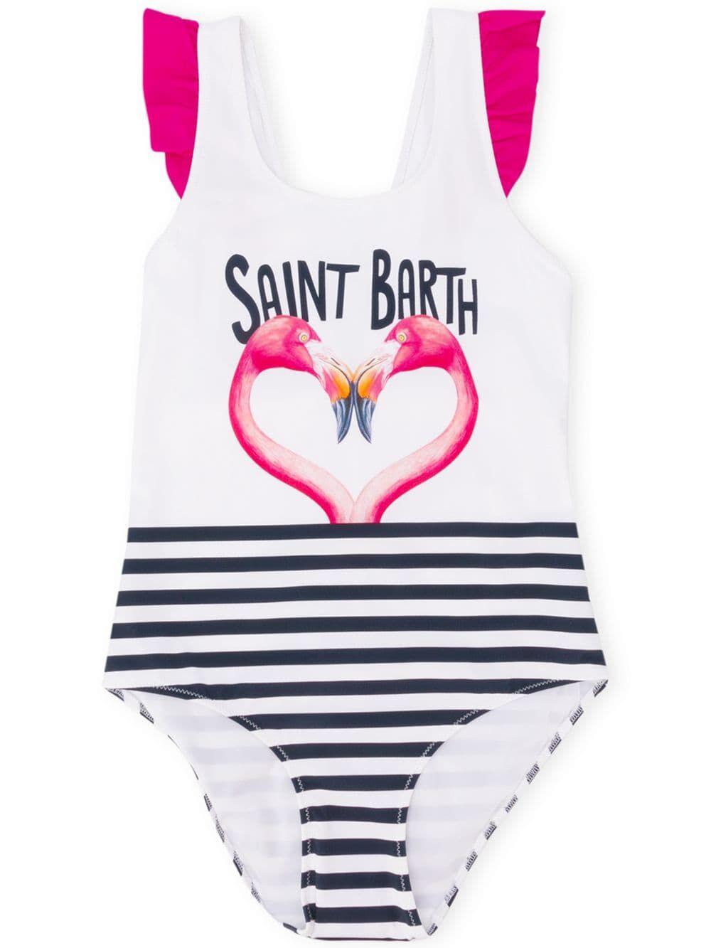 Costume Intero Da Bambina Stampa Flamingo A Cuore - MC2 Saint Barth Junior