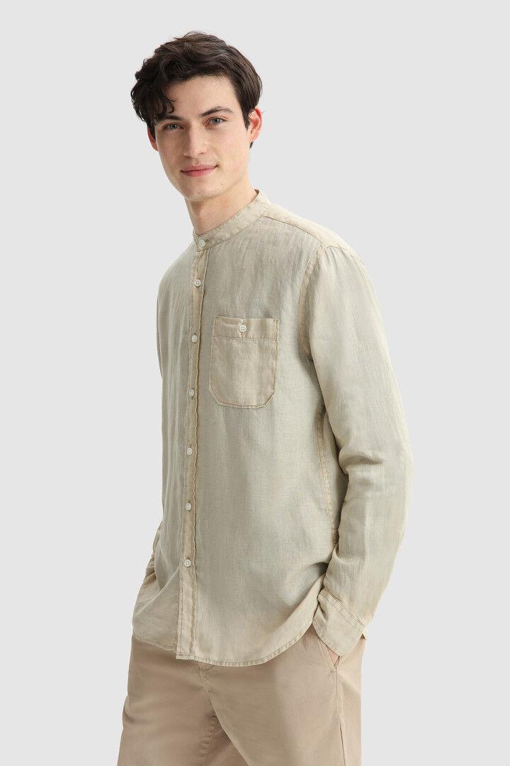 Camicia In Lino Con Colletto A Fascia - Woolrich