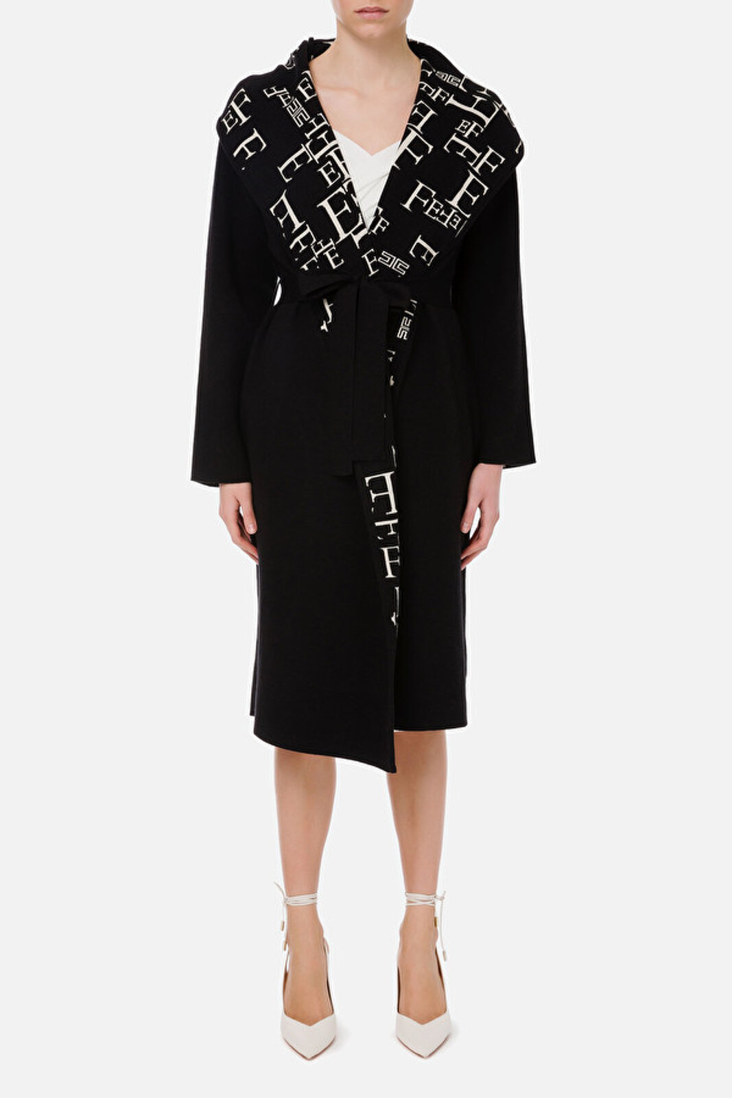Coat With Belt With Lettering Print Lining - Elisabetta Franchi