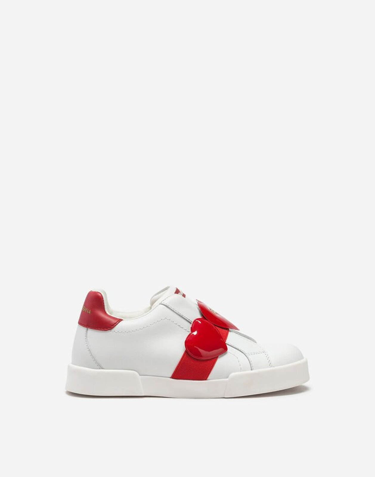 Sneakers Portofino Light In Nappa Con Cuori - Dolce & Gabbana Junior