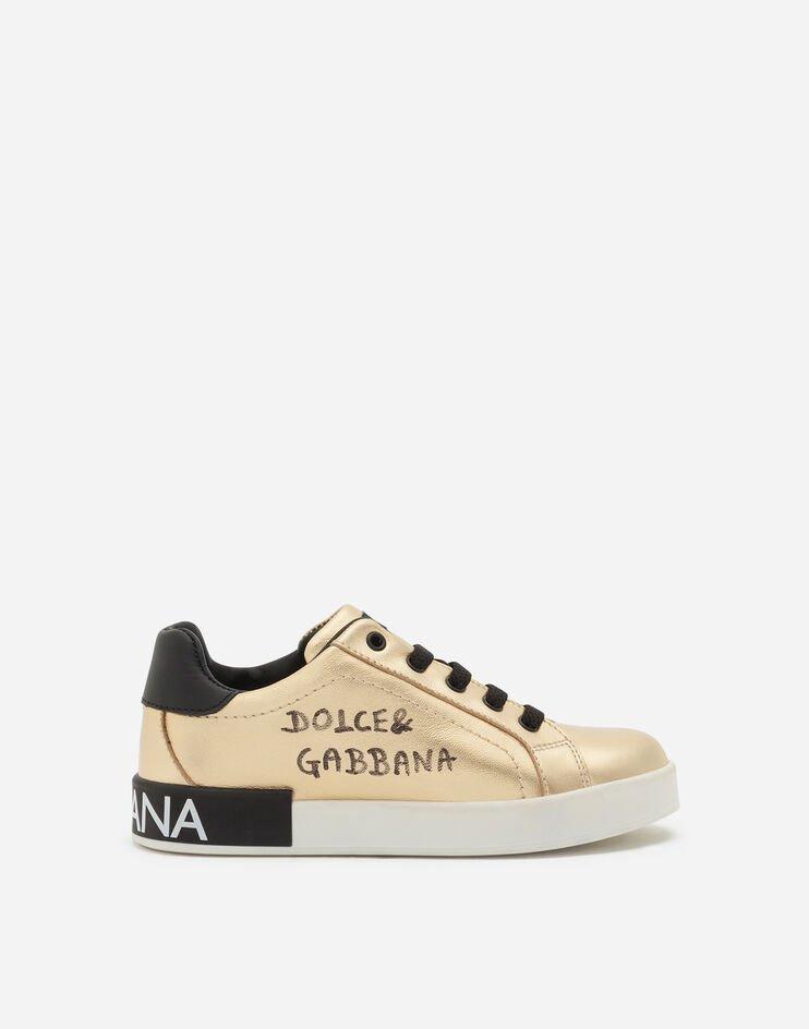 Sneaker Portofino Custom In Agnello Laminato Stampa Logo - Dolce & Gabbana Junior