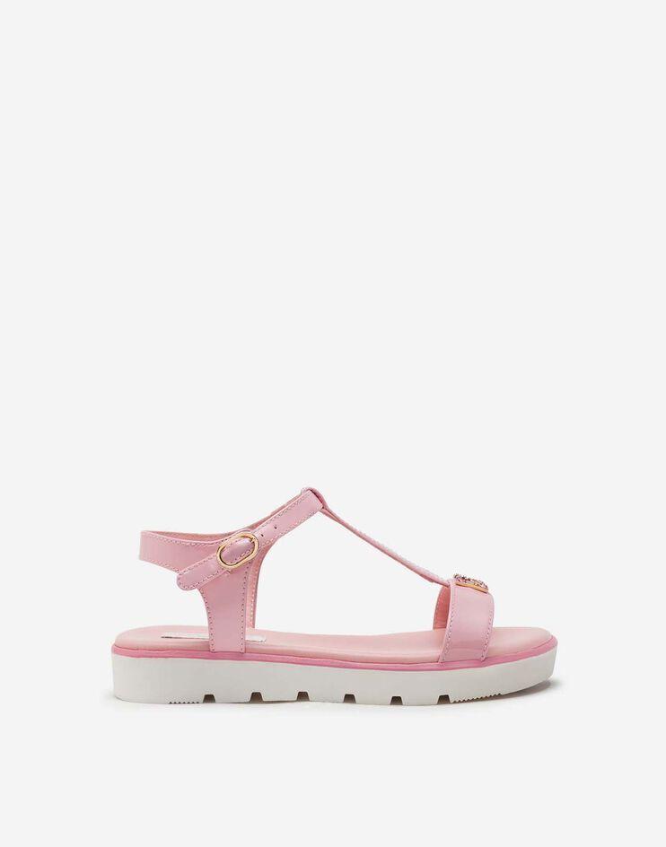 Sandalo T-Strap In Vernice Con Dg Strass - Dolce & Gabbana Junior