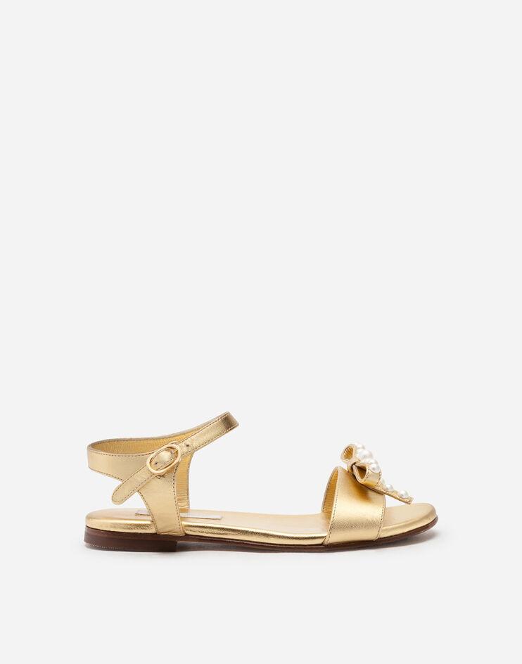 Sandalo Ankle Strap In Nappa Laminata Con Fiocco - Dolce & Gabbana Junior