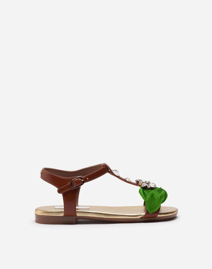 Sandalo T-Strap In Vacchetta Con Applicazioni Gioiello - Dolce & Gabbana Junior