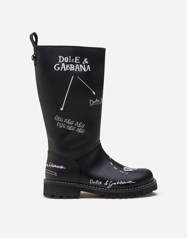 Stivale In Pelle Di Vitello Stampa Logo - Dolce & Gabbana Junior