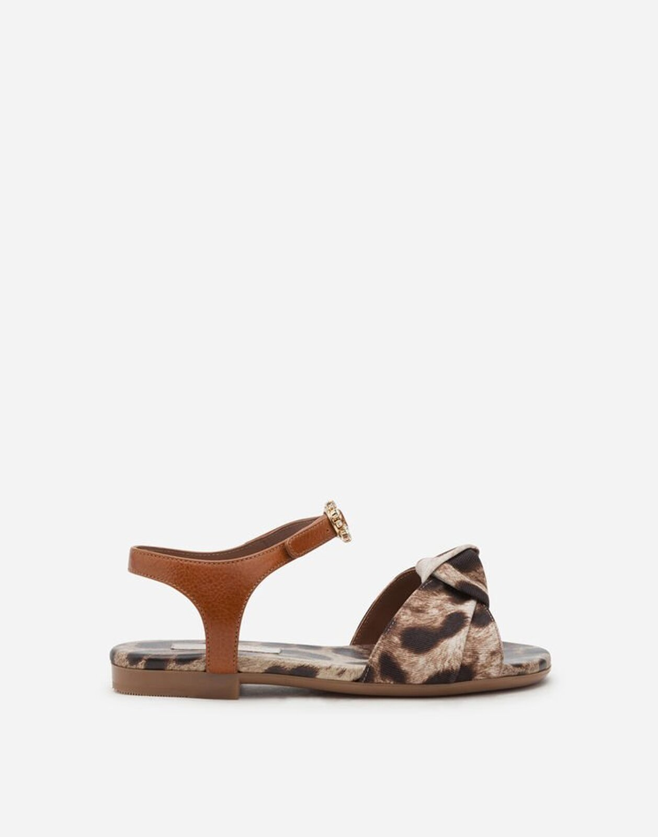 Sandalo Ankle Strappe In Faille Stampa Leo - Dolce & Gabbana Junior