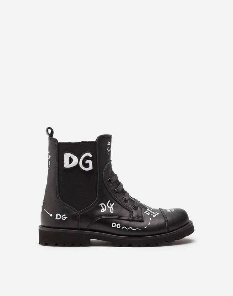 Anfibio In Pelle Di Vitello Stampa Logo - Dolce & Gabbana Junior