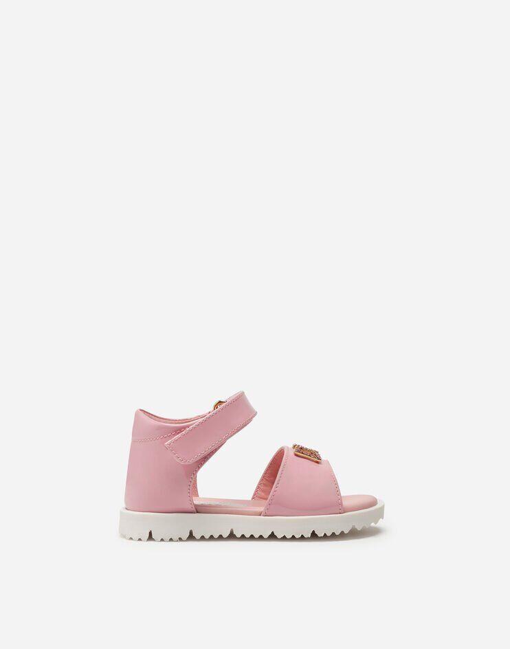 Sandalo Ankle Strap In Vernice Con Dg Strass - Dolce & Gabbana Junior