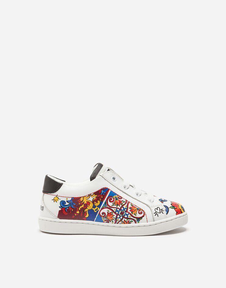 Sneakers In Pelle Stampato - Dolce & Gabbana Junior