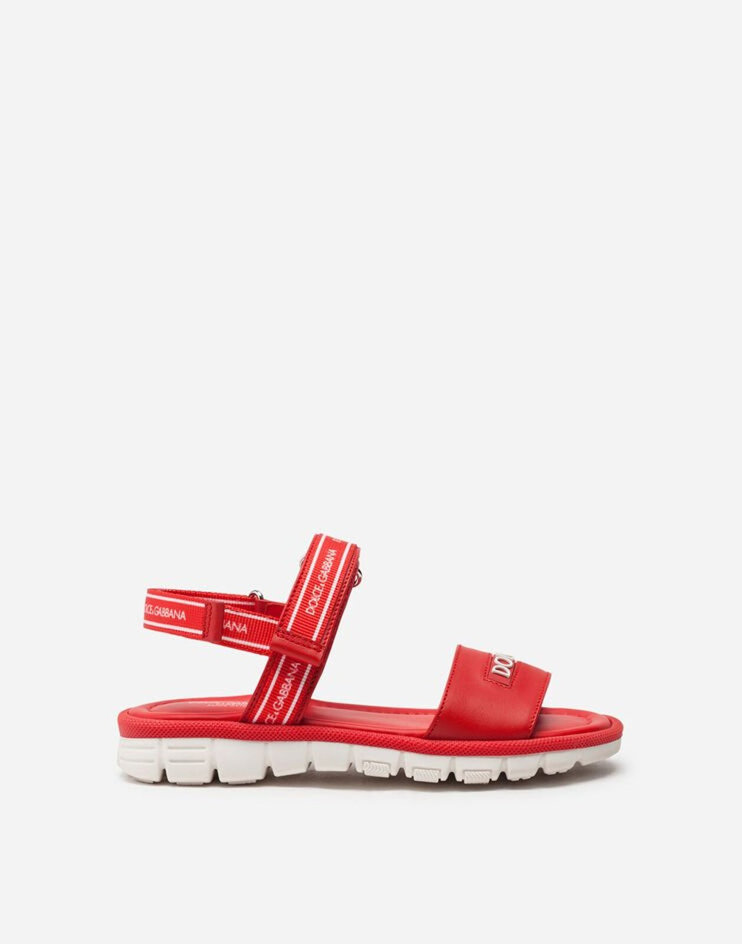 Sandalo Beachwear In Vitello Con Nastro Logo - Dolce & Gabbana Junior