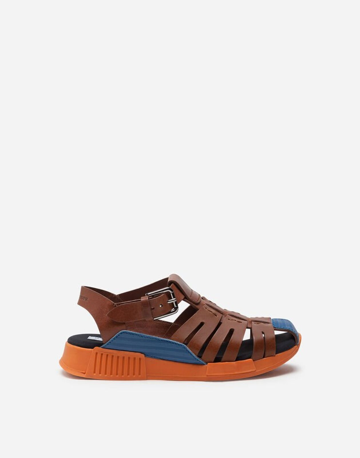 Sandalo In Vitello Con Inserti A Contrasto - Dolce & Gabbana Junior
