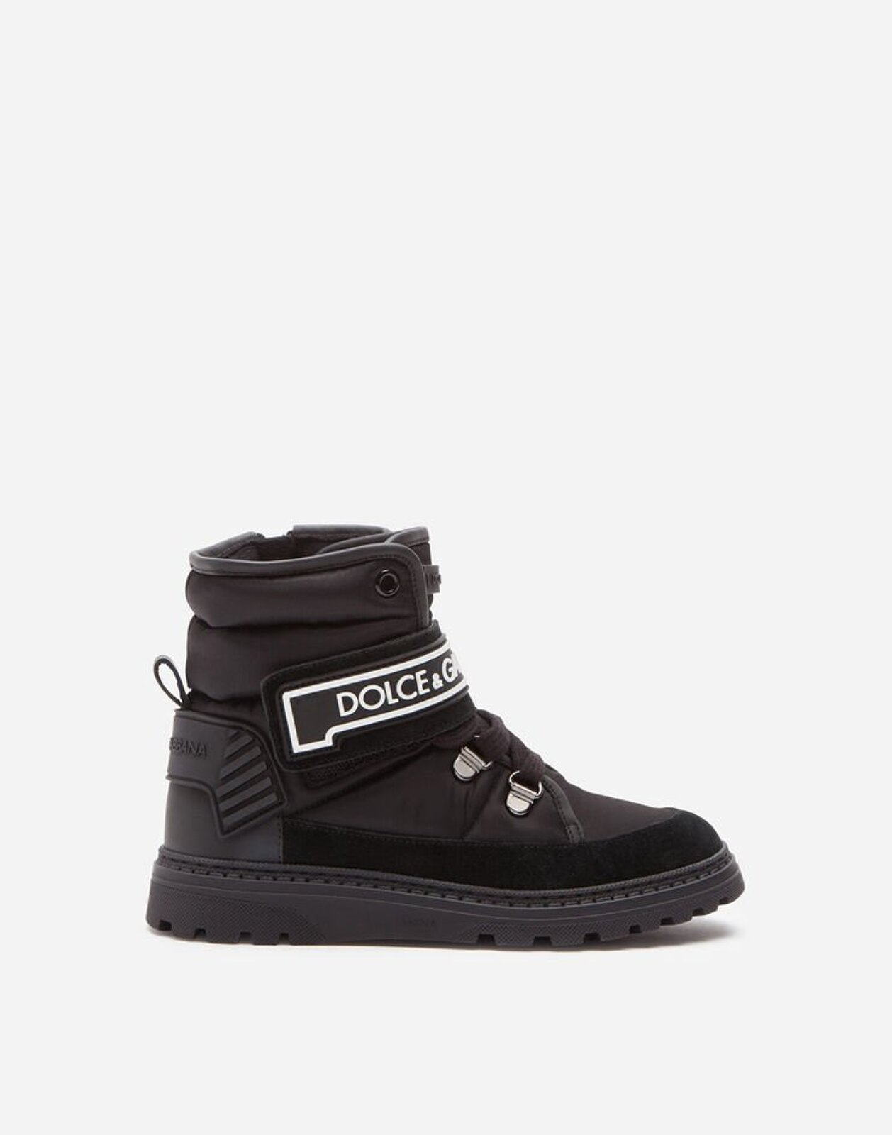 Stivaletto In Nylon E Crosta Con Logo - Dolce & Gabbana Junior