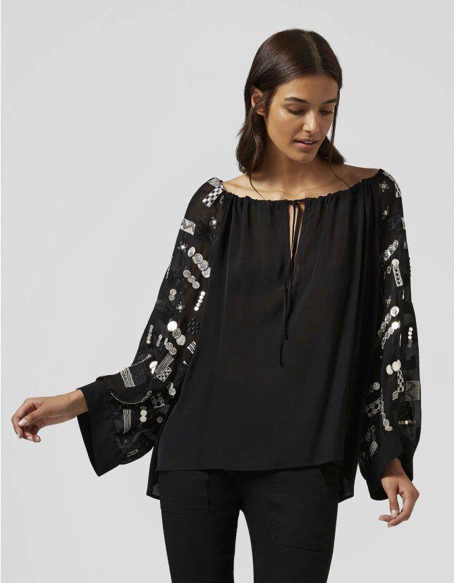 Shirt With Chiffon Embroidery - Dondup