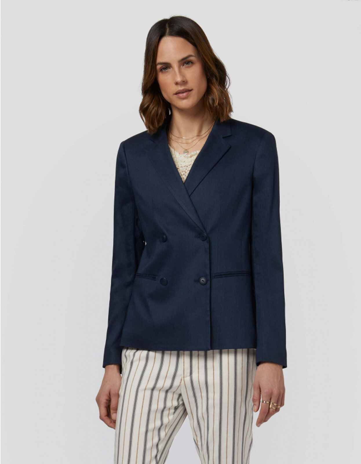 Blazer Doppiopetto In Lino E Viscosa - Dondup