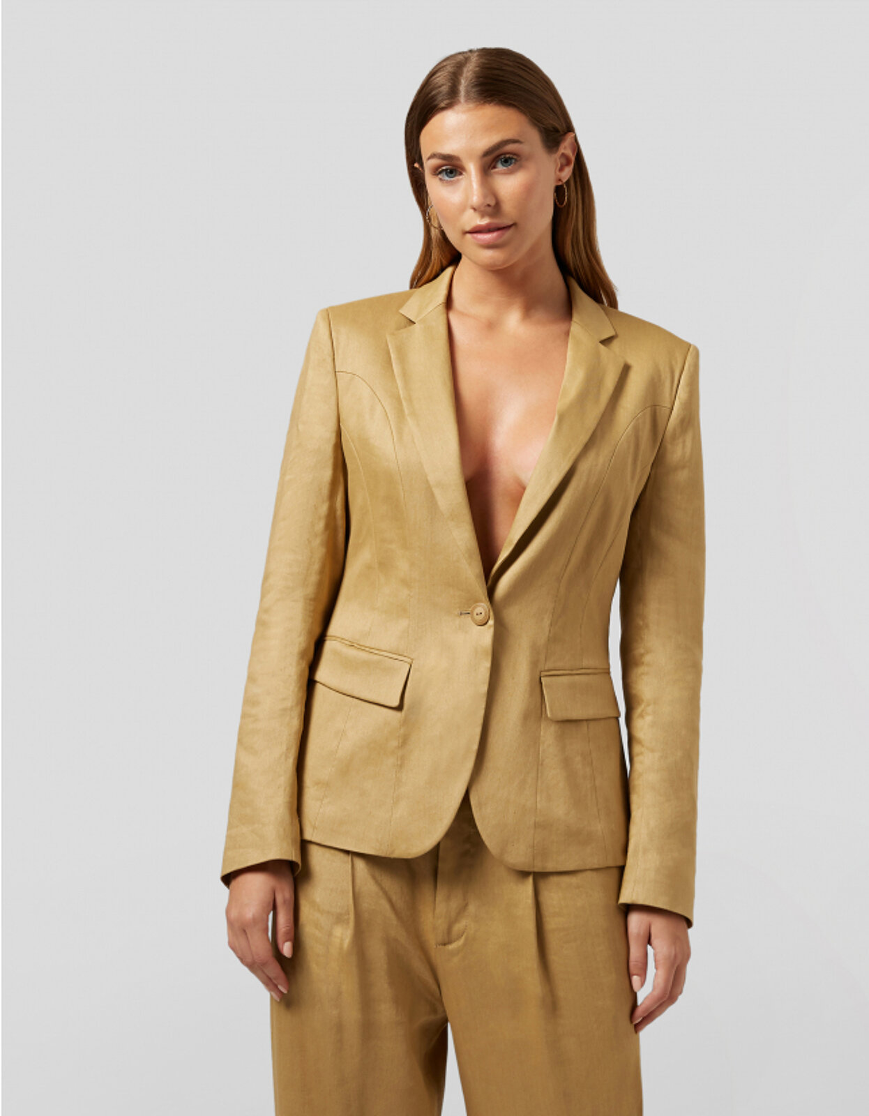 Blazer Monopetto In Lino E Viscosa - Dondup