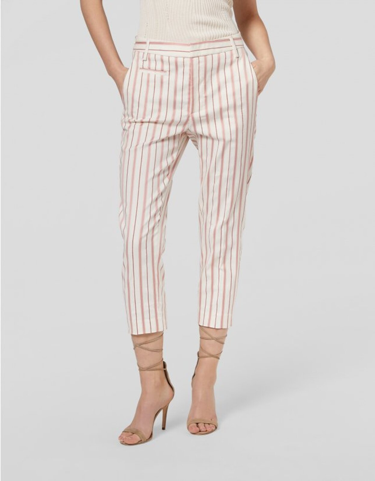 Ariel Carrot Trousers In Cotton And Striped Viscose - Dondup