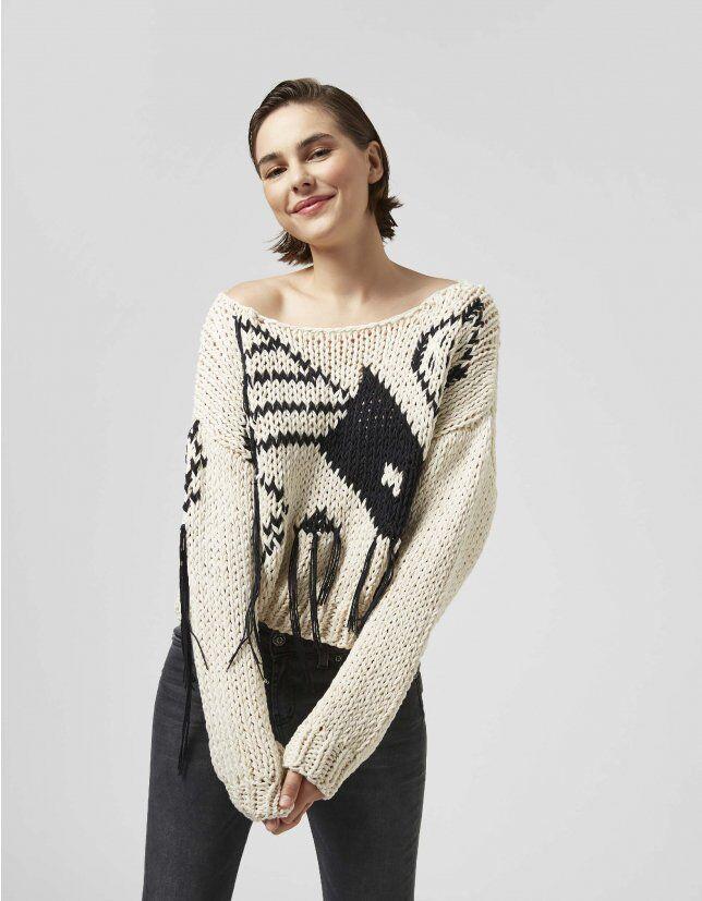 Jacquard Cotton Sweater - Dondup
