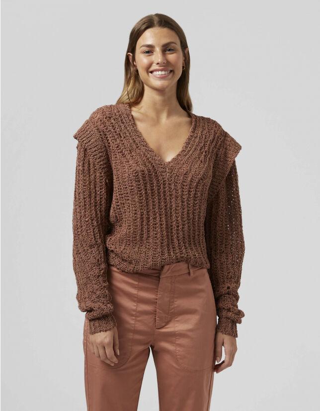 V-Neck Sweater In Hemp - Dondup