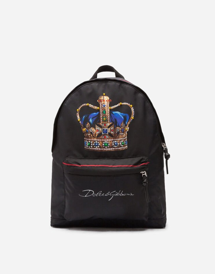 Zaino In Nylon Stampa Corona - Dolce & Gabbana Junior
