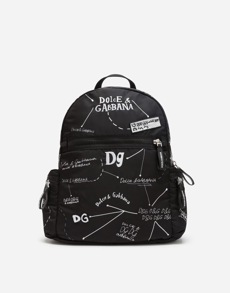 Zaino In Nylon Stampa Logo - Dolce & Gabbana Junior