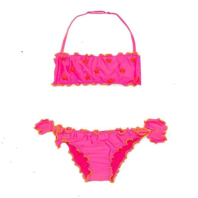 Bikini A Fascia Frou Frou Da Bimba Stelline Borchiate - MC2 Saint Barth Junior